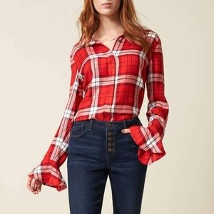 Sanctuary Nightscape Plaid ruffle Cuff Blouse